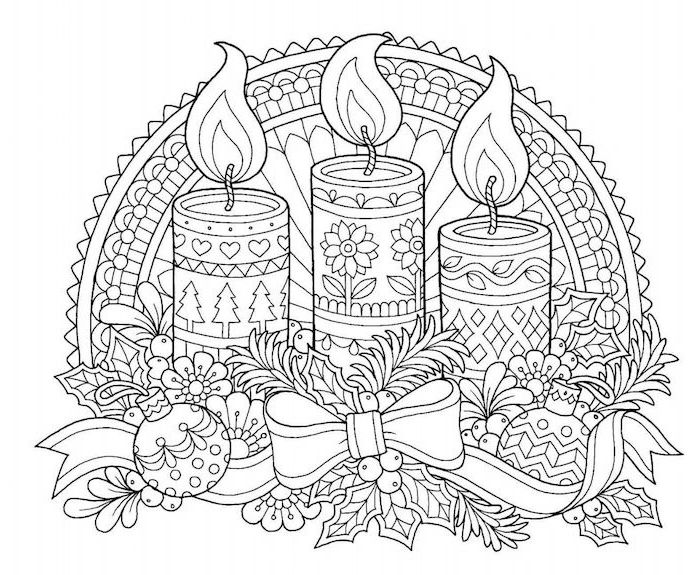 candles with different prints wreath around them with baubles ribbon mistletoe printable christmas coloring pages