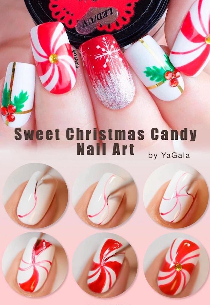 candy in red and white decoration step by step diy tutorial cute christmas nails medium length squoval nails