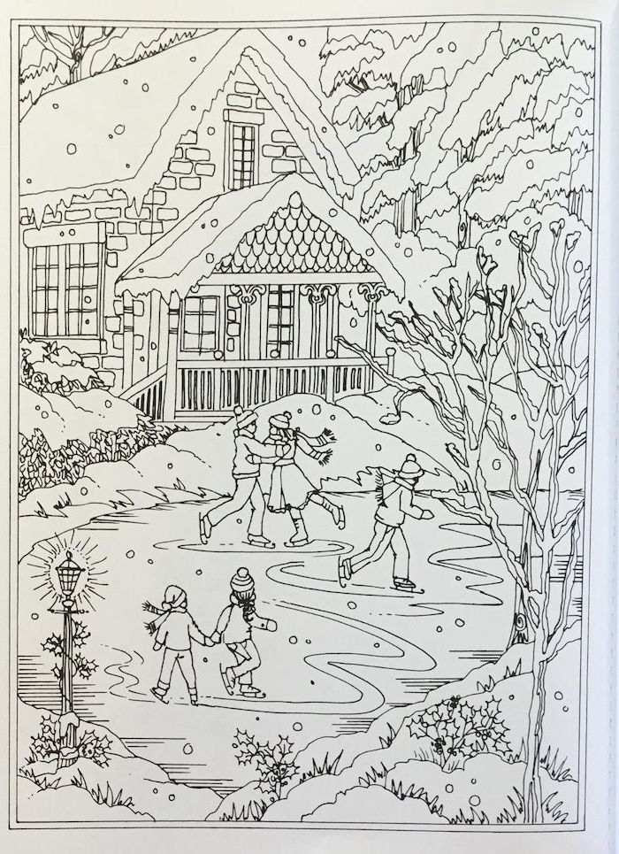 christmas coloring pages black and white drawing of house covered with snow frozen lake in front of it people skating on it