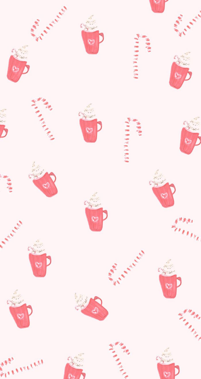 christmas desktop backgrounds pink background with mugs full of hot cocoa and candy canes drawn on it