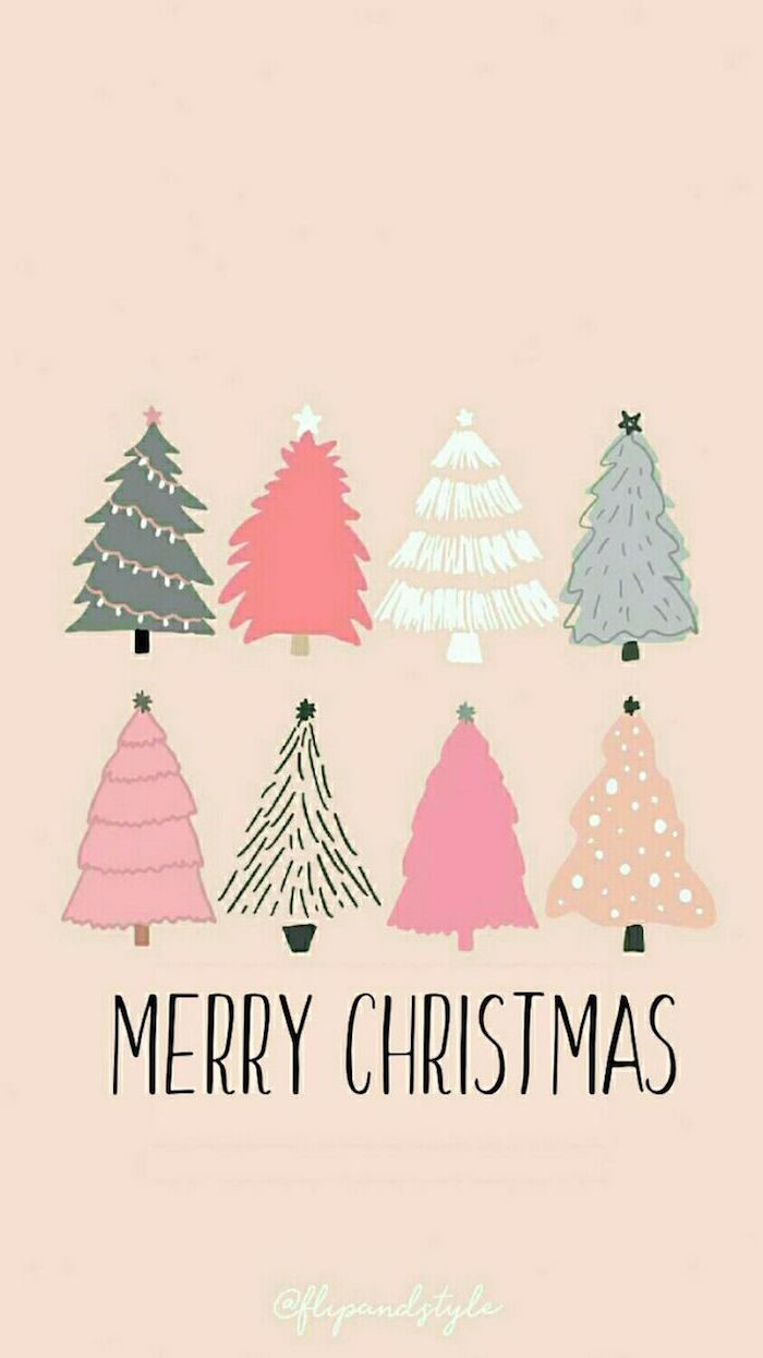 christmas desktop wallpaper merry christmas written under drawing of eight christmas trees in different colors