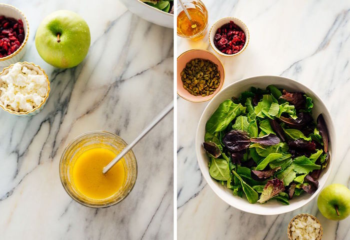 christmas food ideas side by side photos how to make apple salad and dressing bowls placed on marble surface