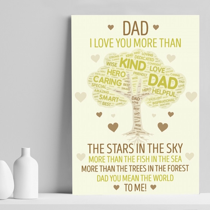 christmas gift ideas for dad dad i love you more than personalised poster with white background