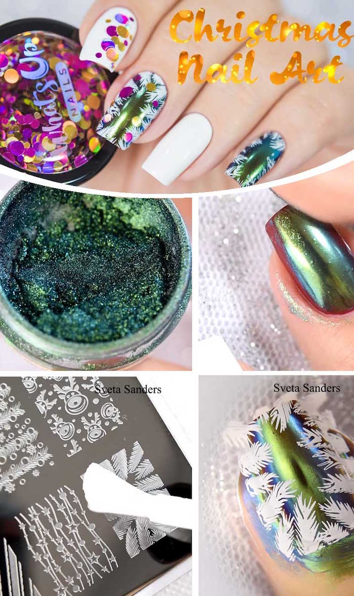 christmas inspired decoration christmas nails 2020 green metallic nail polish step by step diy tutorial
