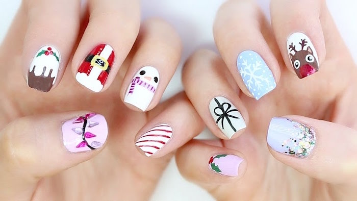 christmas inspired decorations on medium length square nails christmas nail designs 2020 different decoration on each nail