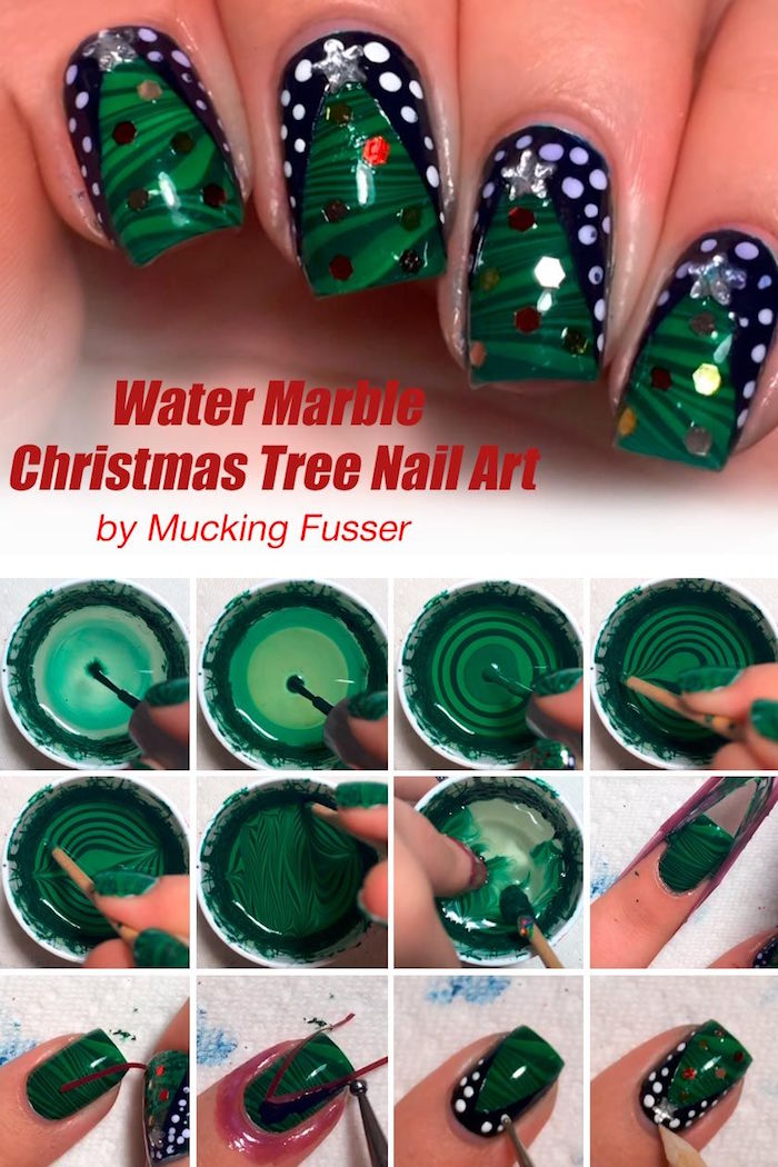 christmas nail colors water marble christmas tree with green nail polish on black nail polish step by step diy tutorial