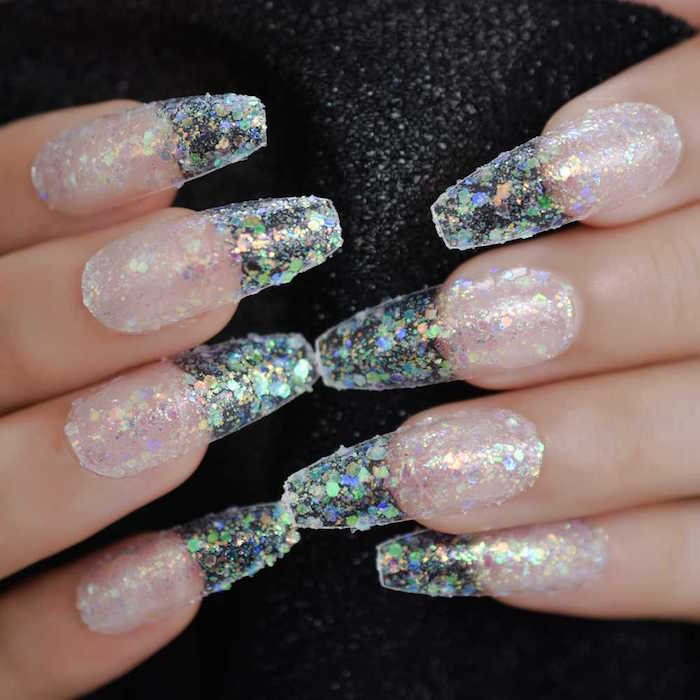 christmas nail designs 2020 long acrylic coffin nails with silver transperant glitter nail polish