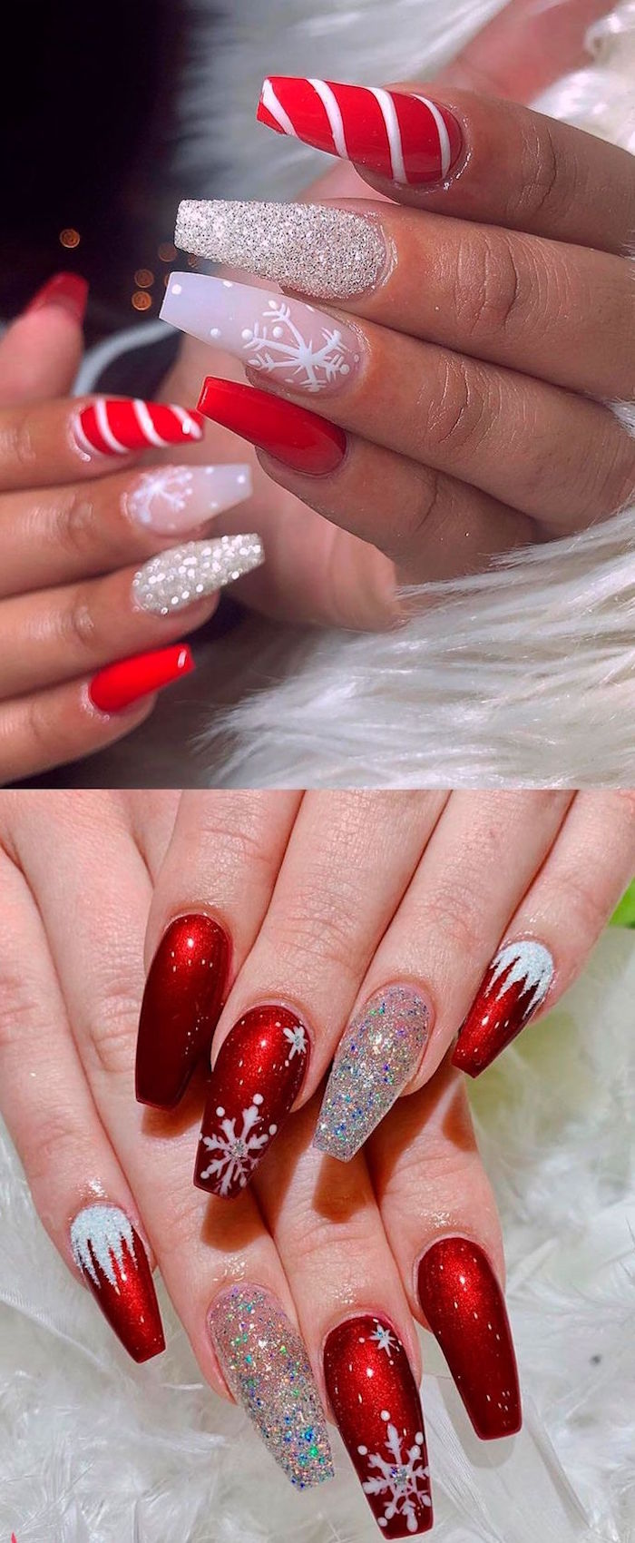 christmas nails two photos of long coffin nails in red and silver glitter with snowflake decorations