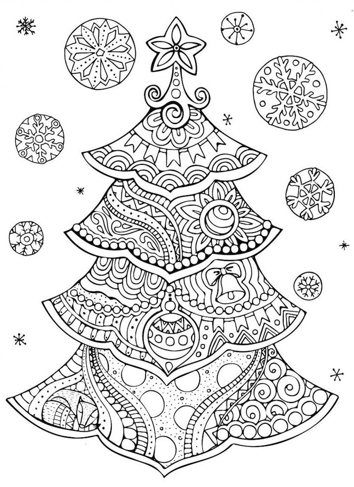 christmas tree abstract drawing with star tree topper free printable christmas coloring pages black and white drawing