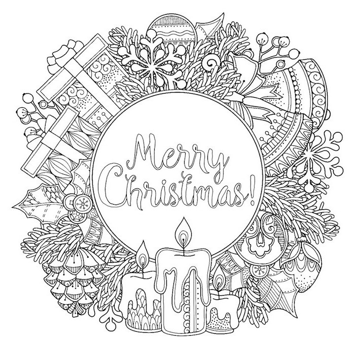 christmas tree coloring page merry christmas written in the middle surrounded by baubles presents candles mistletoe