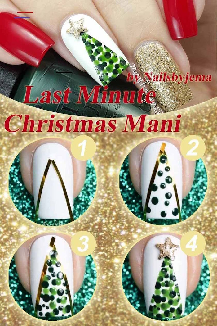 christmas tree decoration on white nail polish step by step diy tutorial christmas nails medium length square nails