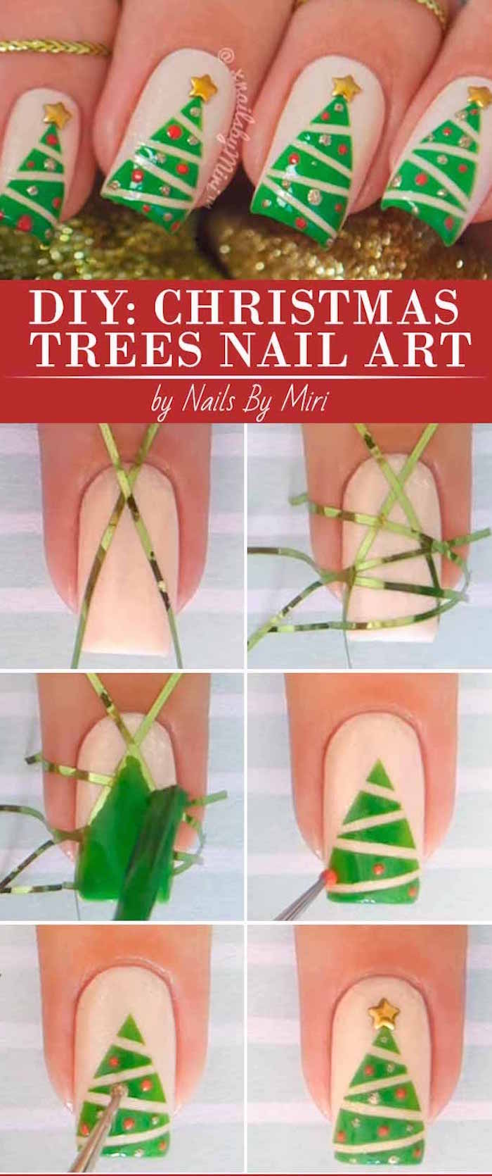 christmas tree decoration step by step diy tutorial simple christmas nails green and gold nail polish