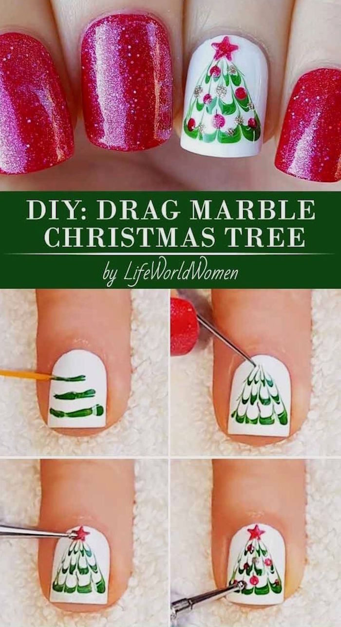 christmas tree decoration with red star and baubles on white nail polish step by step diy tutorial cute christmas nails red glitter nail polish