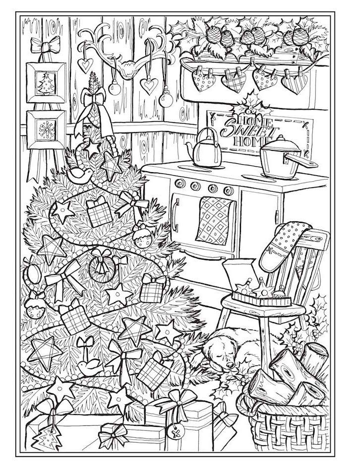 christmas tree next to kitchen oven lots of presents underneath free printable coloring pages garlands hanging on the wall