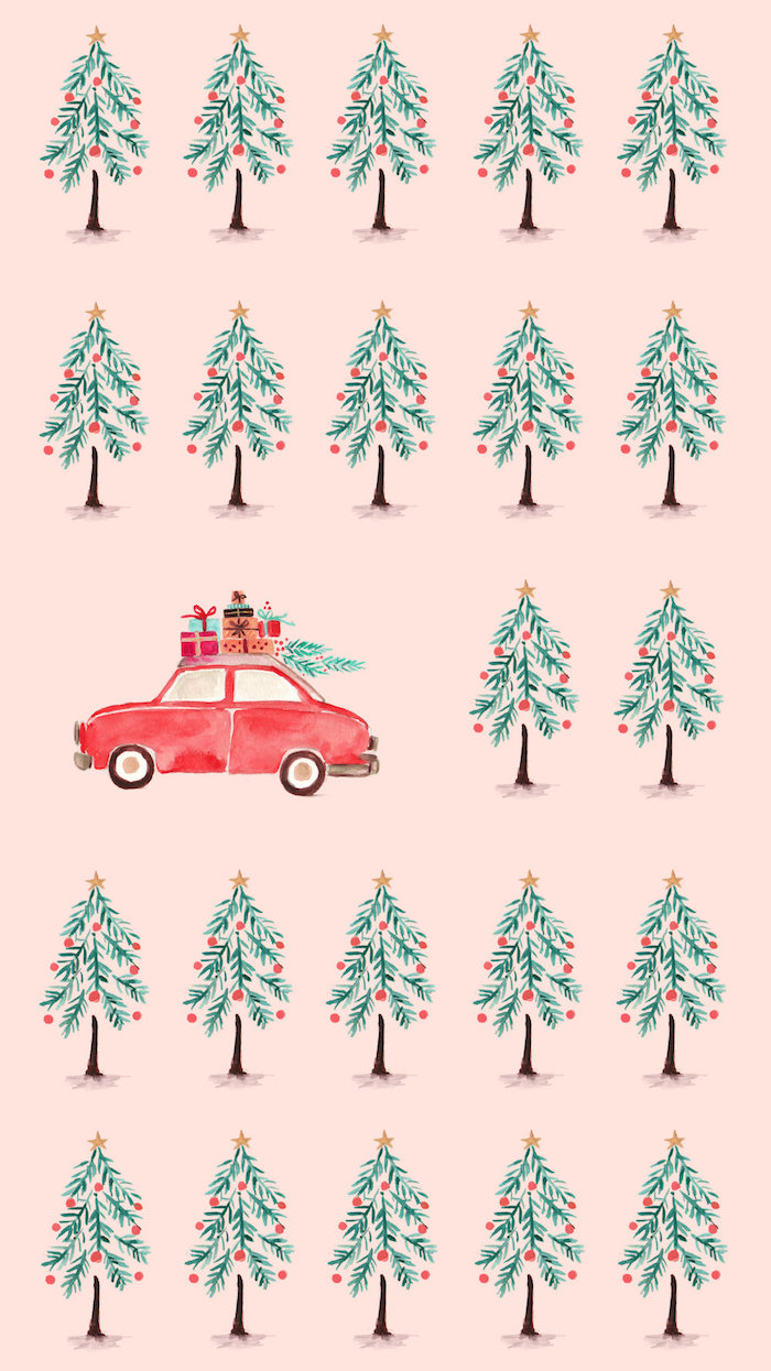 christmas trees and red car carrying presents drawn on pink background merry christmas wallpaper star tree toppers