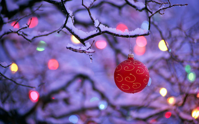 christmas wallpaper close up photo of red bauble hanging from tree branch covered with snow lights in the background
