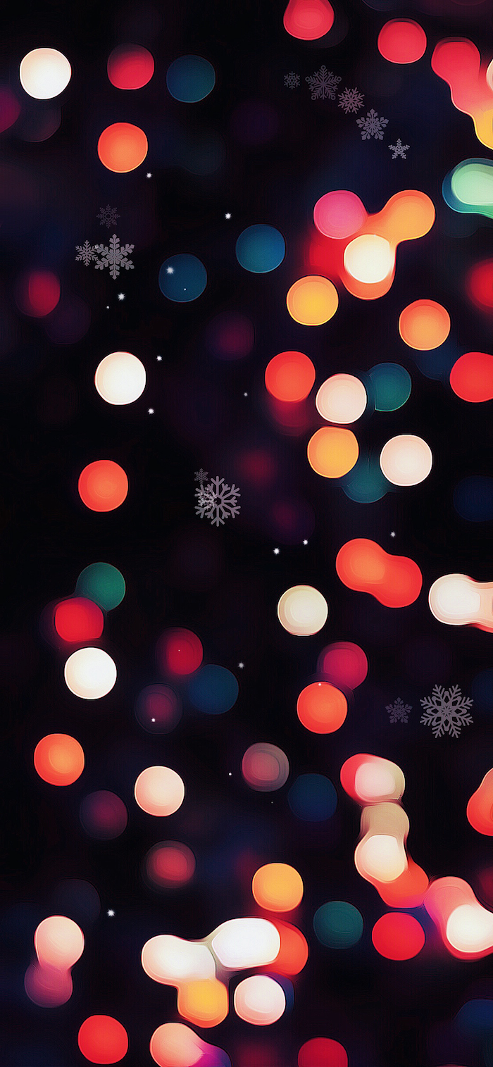 christmas wallpaper computer digital drawing of blurred christmas lights shining in different colors with white snowflakes