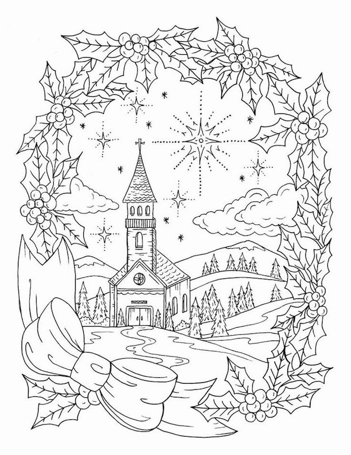 church on an empty field surrounded by evergreen trees christmas coloring pages black and white drawing with ribbon and mistletoe frame
