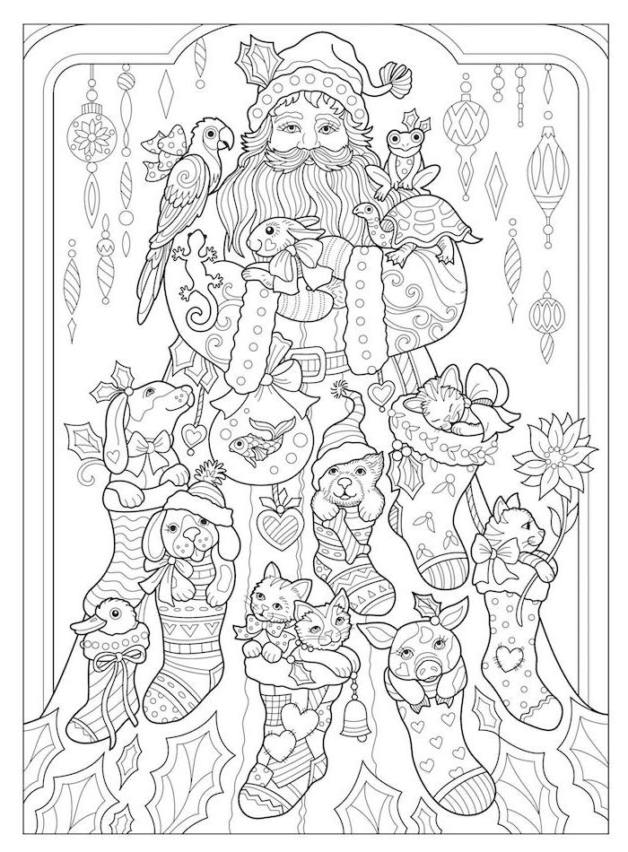 coloring pages for kids black and white drawing of sannta clause surrounded by different animals in stockings