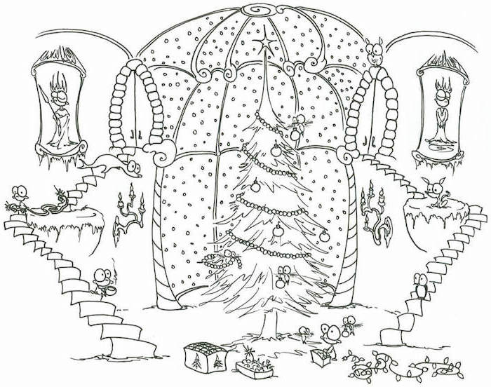 coloring sheets for kids decorated christmas tree in front of large window next to big staircase