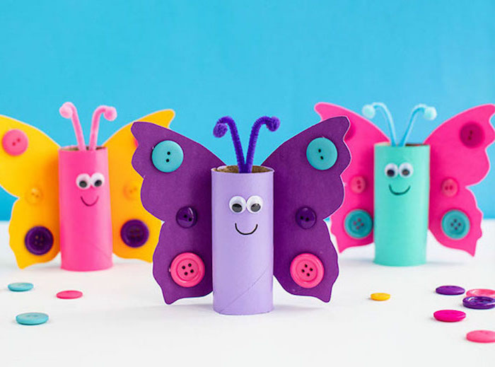 craft ideas for kids butterflies made out of toilet paper rolls cardstock decorated with buttons googly eyes