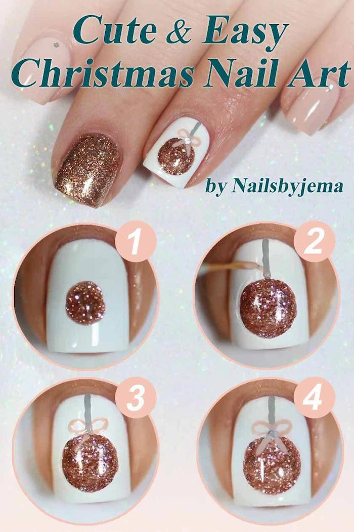 cute christmas nails rose gold glitter bauble decoration on white nail polish on short square nails step by step diy tutorial