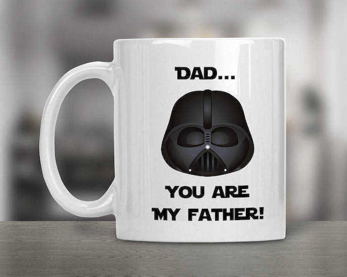 dad you are my father written around drawing of darth vader on white coffee mug christmas gift ideas for dad
