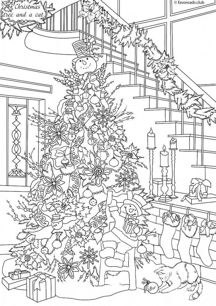 decorated christmas tree next to large staircase with garland hanging on it free printable coloring pages black and white drawing