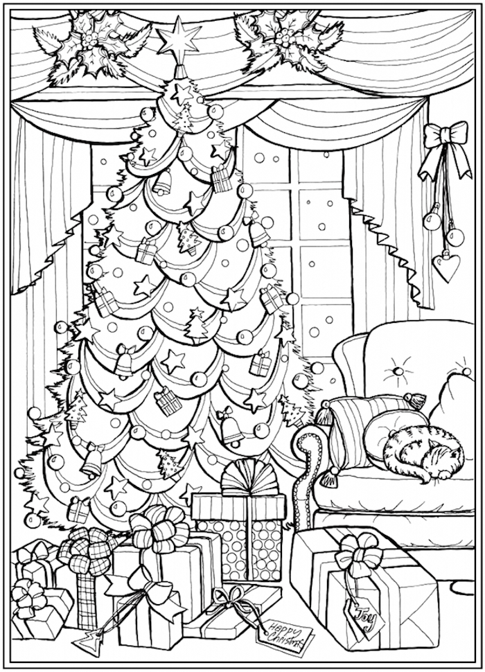 decorated christmas tree next to sofa in front of window lots of presents underneath christmas coloring pages