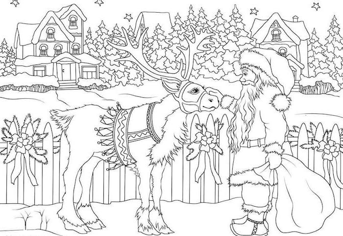 deer being pet by santa clause holding a bag christmas tree coloring page houses and evergreen trees in the background