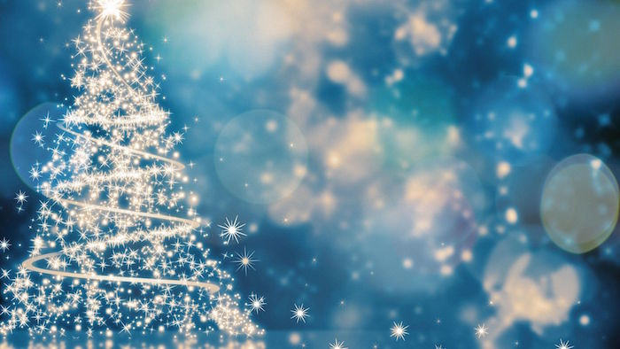 digital drawing of christmas tree made of lights christmas wallpaper blue silver blurred background