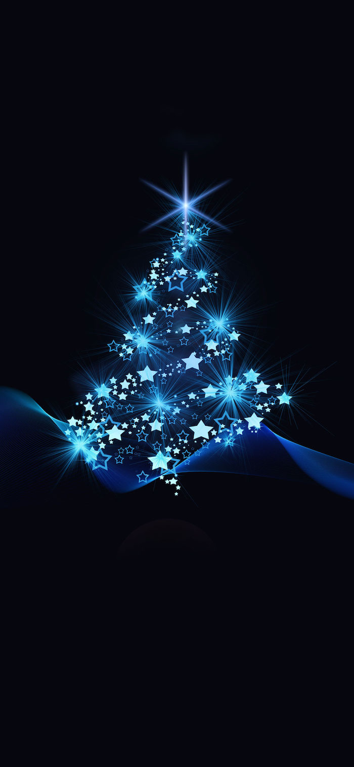 digital drawing of christmas tree outline made with shining stars christmas wallpaper computer black background