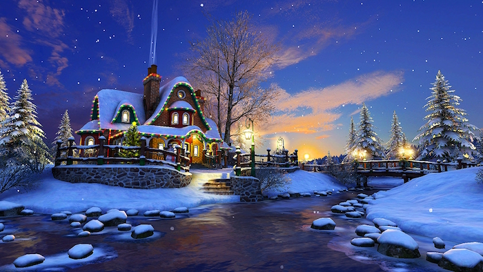 digital drawing of house next to river covered with snow christmas background iphone decorated with lights