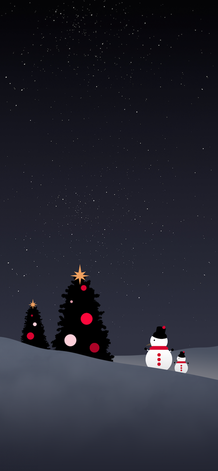 digital drawing of two snowmen standing next to two christmas trees decorated with baubles christmas wallpaper tumblr black background