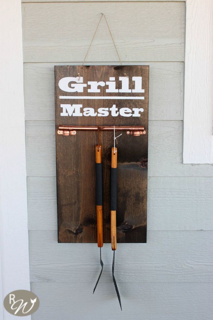 diy grill tool hanger gifts for dad who has everything step by step diy tutorial wooden board with railing