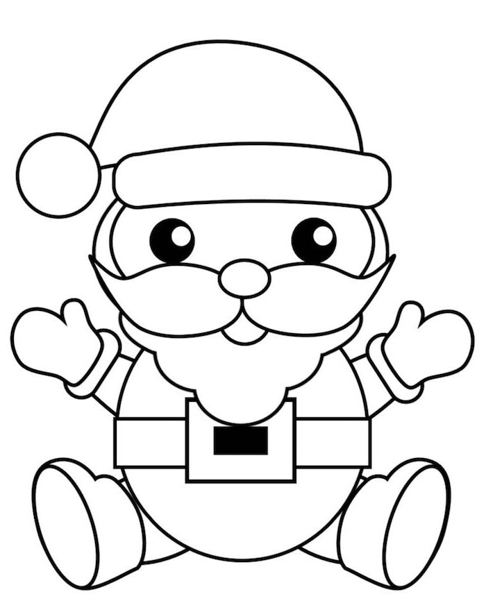 drawing of santa clause smiling christmas coloring pages for kids black and white drawing