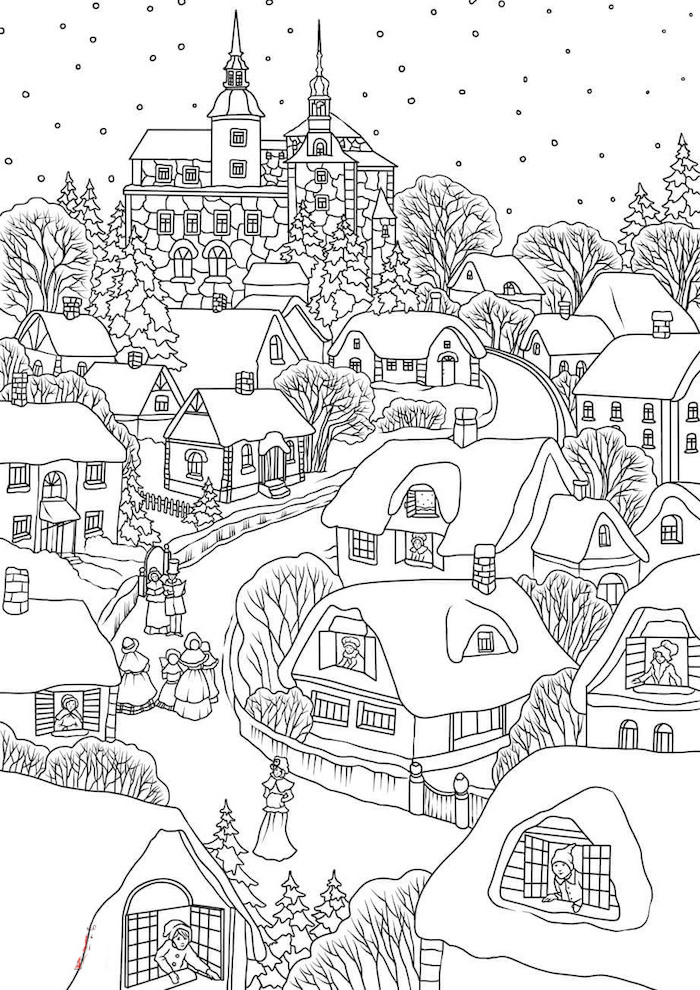 drawing of small village with lots of houses free printable coloring pages for kids snowflakes falling from the sky