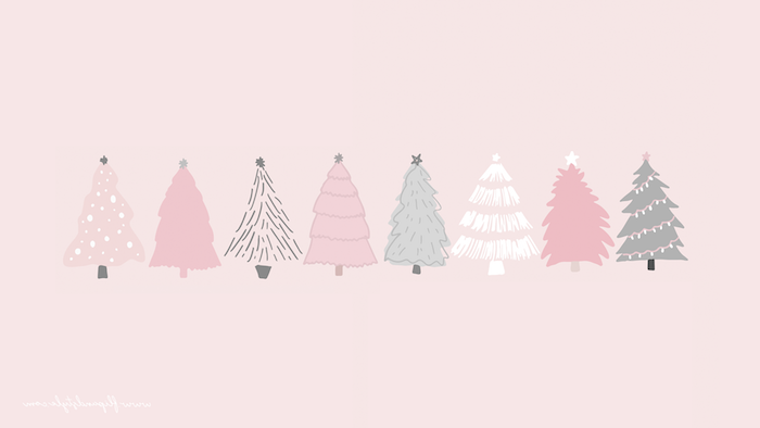 drawings of eight christmas tree in different colors drawn on pink background christmas background iphone