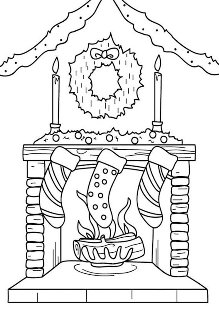 fireplace with stockings hanging from it christmas tree coloring page wreath garland and candles on the wall above it