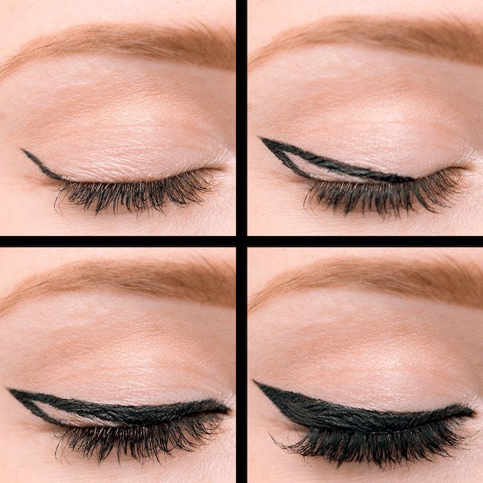 four step tutorial for black eyeliner eyeliner for almond eyes close up photos of woman with blonde eyebrows