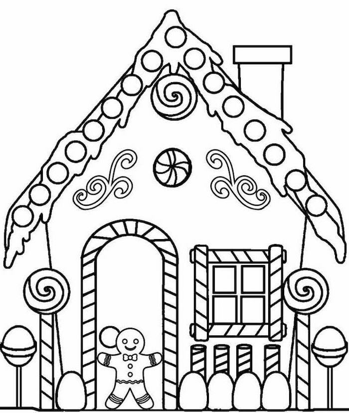 free coloring pages for kids black and white drawing of gingerbread house with gingerbread man at the door