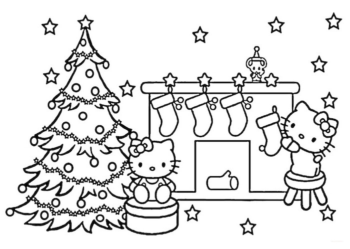 free printable christmas coloring pages hello kitty decorated christmas tree next to fireplace with four stockings
