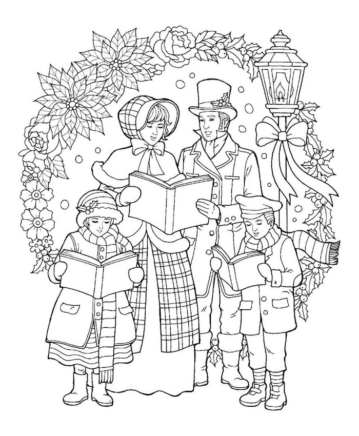 free printable coloring pages man woman and two children dressed in winter coats holding books flowers and mistletoe around them