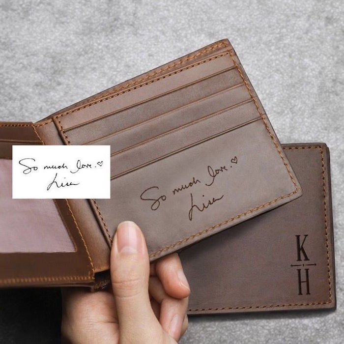 gifts for dad from daughter dark brown leather wallet personalised with initials and personal message inside