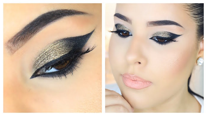 gold glitter eyeshadow with black winged eyeliner for hooded eyes side by side photos of woman with black hair