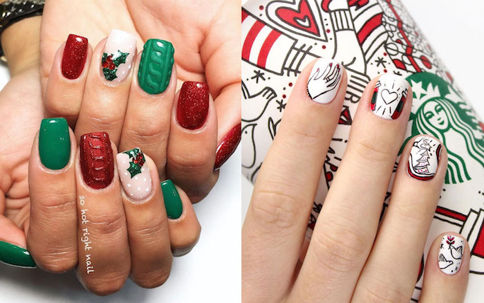 green and red glitter nail polish mistletoe decorations cute christmas nails white nail polish christmas starbucks inspired decorations