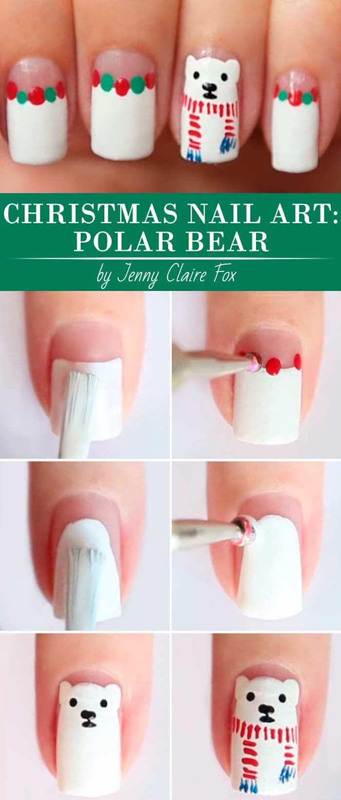 green and white dots on white nail polish simple christmas nails step by step diy tutorial for polar bear decoration