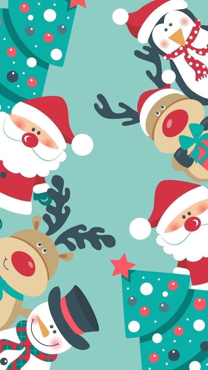 green background christmas desktop wallpaper drawings of santa reinderr snowmen christmas trees penguin