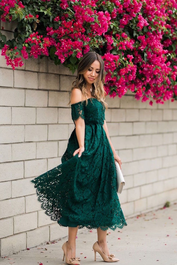 green lace off the shoulder dress beige shoes formal dresses for weddings worn by woman with long balayage hair