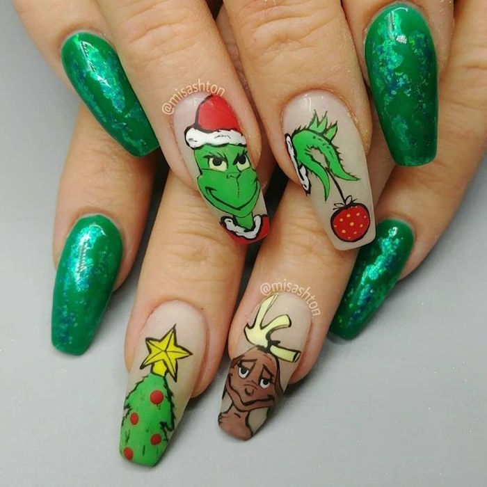 grinch inspired manicure christmas acrylic nails green and nude nail polish christmas tree deer grinch decorations